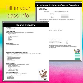 Editable Course Syllabus Template For Middle School And High School