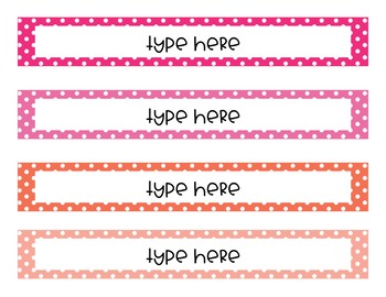 Editable Cover pages Matching Spines - polka dots/stripes