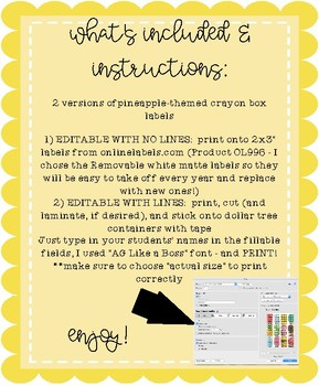 Editable Crayon Box Labels - 2 Versions (1 using labels, 1 cutting/taping)