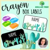 Editable Crayon Box Labels (Cactus Theme)