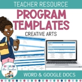 Editable Creative Arts Program Template - K-6