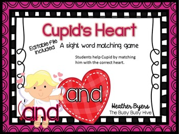 Editable Cupid's Heart- Sight word game