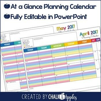 Editable Curriculum Map Planning Calendar