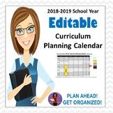 Editable Curriculum Planning Calendar
