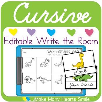 Editable Cursive Write the Room: Dinosaurs     MMHS15