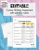 Editable Cursive Writing Assessment with Editable Rubric