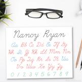 Editable Cursive Writing Worksheet, Printable Script Handwriting-Name & Alphabet