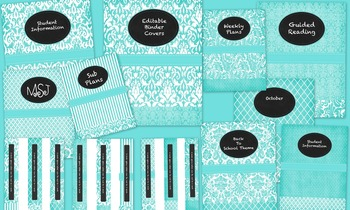 Binder Covers with Spine Labels Mint Blue