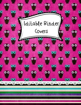 Binder COVERS Owl Themed Purple, Turquoise, and Pink