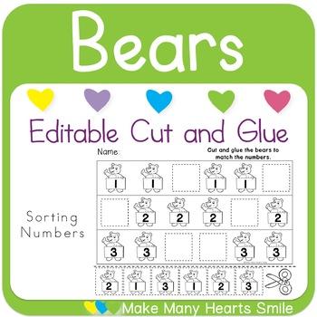 Editable Cut and Glue: Bears