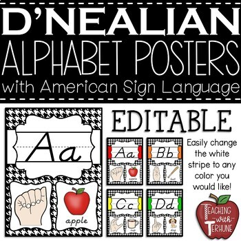Editable D'NEALIAN-like Alphabet Posters with American Sign Language