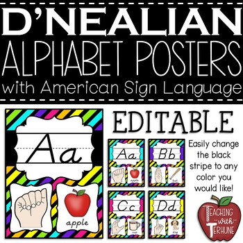 Editable D'NEALIAN-like Alphabet Posters with American Sign Language {Neon}