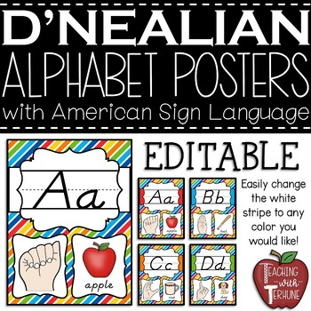 Editable D'NEALIAN-like Alphabet Posters with American Sign Language {Primary}