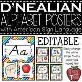 Editable D'NEALIAN-like Alphabet Posters with American Sig