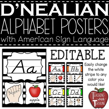 Editable D'NEALIAN-like Alphabet Posters with American Sign Language {Striped}