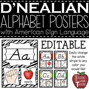 Editable D'NEALIAN-like Alphabet Posters with American Sign Language {Zebra}