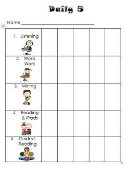 Editable Daily 5 Chart