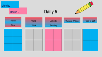 Editable Daily 5 Rotations Monday thru Friday