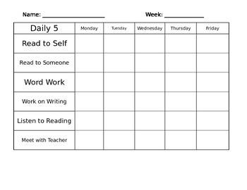 Editable Daily 5 Weekly Student Log