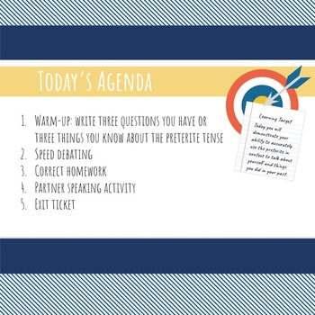Editable Daily Agenda Google Slide Template for All Grades, All Subjects
