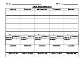 Editable Daily Behavior Sheet