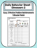 Editable Daily Behavior Sheet - Dinosaurs 2