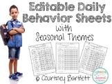 Editable Daily Behavior Sheets (with Seasonal Themes)
