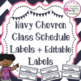 Editable Daily Class Schedule Labels/ Subject labels- Chevron theme