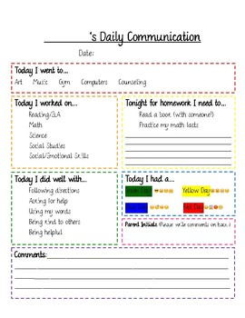 Editable Daily Communication Sheet with Social Emotional Check-In