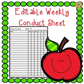 Editable Daily Conduct Sheet