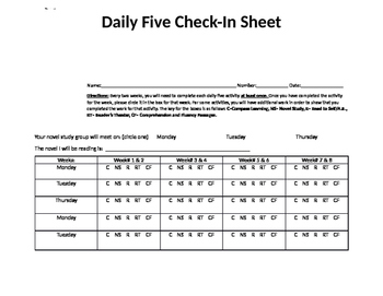 Editable Daily Five Check In Document!