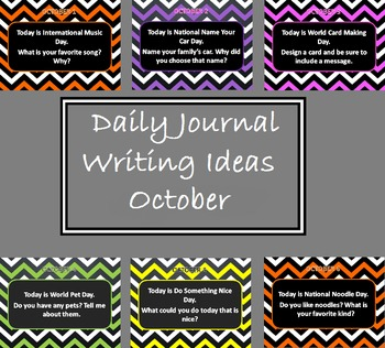 Editable Daily Journal Writing Prompts - October