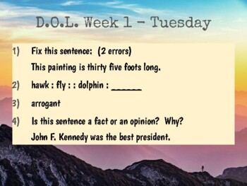 Editable Daily Language Practice (DOL) for morning or bell work, 4th 5th 6th 7th