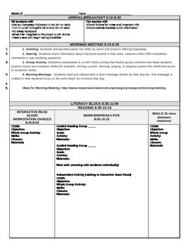 Editable Daily Lesson Plan Template