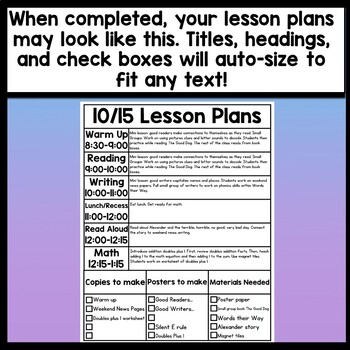 Editable Daily Lesson Plan Template -2 Pages {Editable Lesson Plan Template}