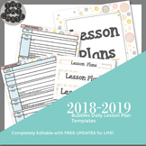 Editable Daily Lesson Plan Template | Bubbles