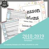 Editable Daily Lesson Plan Template | Bubbles