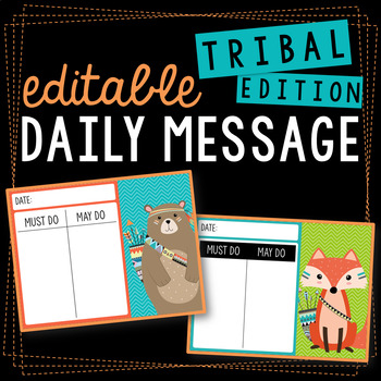 Editable Daily Message Tribal Themed