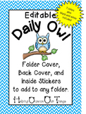 Editable Daily Owl Folder Cover, Back Cover, and Pocket Labels