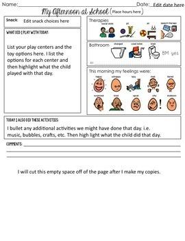 Editable Daily Parent Communication