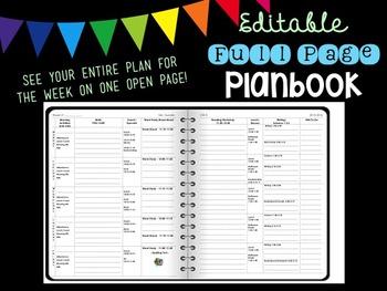 Simple Editable Weekly Planbook