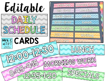 Editable Daily Schedule Cards