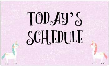 Editable Daily Schedule Cards with Unicorn Title Page