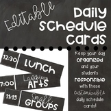 Editable Daily Schedule Cards- Chalkboard Theme
