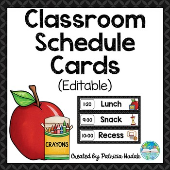 Editable Daily Schedule Cards (Black)