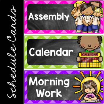 Editable Daily Schedule Cards Chalkboard Theme, Class Schedule Cards