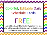 Editable Daily Schedule Cards - Free!