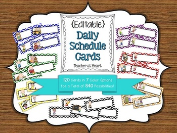 {Editable} Daily Schedule Cards - Primary Color Chevron