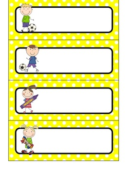 {Editable} Daily Schedule Cards - Primary Color Polka Dots