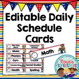 Editable Daily Schedule Cards: Rainbow Theme